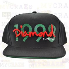 DIAMOND SUPPLY CO BLACK 1998 SNAPBACK ADJUSTABLE CAP HAT STREET HIP HOP SKATER  #diamondsupplyco #cap #streetwear
