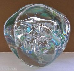 """MIND BLOWING Signed EICKHOLT Glass PAPERWEIGHT Color Changing IRIDESCENCE 4.25"""""""