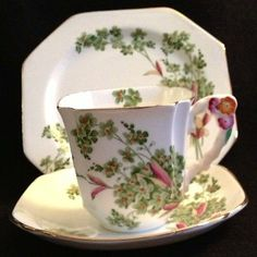 Royal Stafford England Flower Handle Tea Cup And Saucer And Dessert Plate Trio