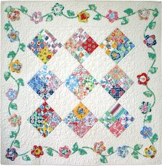 Flossie's Four Patch is a quilt pattern that is easy to piece and machine appliqued.Especially appropriate use for a collection era fabrics. Applique Patterns, Applique Quilts, Quilt Patterns, Block Patterns, Sampler Quilts, Scrappy Quilts, Baby Quilts, Mini Quilts, Creeper Minecraft