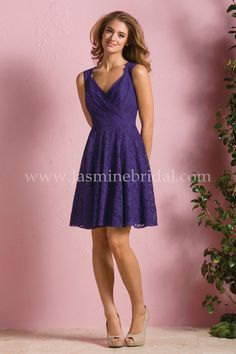 Jasmine Bridal Bridesmaid Dress B2 Style B173064 in Concord Grape // A sexy, youthful bridesmaid dress that can find its place into any bridal party. This purple bridesmaid dress is available in over 15 lace colors and features a Queen Anne neckline, A-line skirt, and keyhole opening in the back.