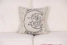 """""""I Love You to the Moon and Back"""" Childrens's Moon & Stars Baby Cushion Cover 45cm x 45cm"""