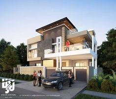 #MODERN #BUNGALOW #exteriordesign #3DRENDER DAY VIEW BY www.hs3dindia.com @nirlepkaur_id #cgi #ArchDaily #3dvisualization