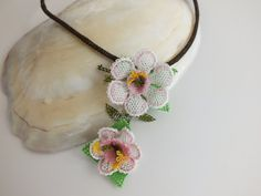 White Needle Lace Necklace Crochet lace Bohem Turkish by handana