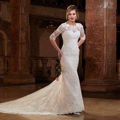 vestido de noiva 2017 Mermaid Elegant Crew Appliques Half Sleeve Buttons Lace Bridal Dress Cheap Wedding Dresses robe de mariage