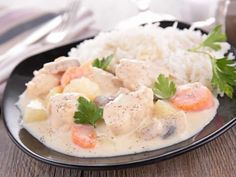 Blanquette of poultry with thermomix Veal Recipes, Diet Recipes, Starters Menu, Ramadan Recipes, Entrees, Cooker, Curry, Food Porn, Food And Drink