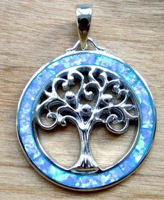 Buy Blue Opal Tree Of Life Pendant at Just £42.00 from Mistry Gems. #SilverGemstoneJewelleryUK