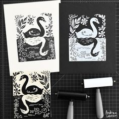Worked on this swan one-color design and liked it in both versions so thought I would share each.  Looking forward to a productive week!