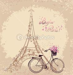 Texto de Bonjour Paris con la torre eiffel y la bicicleta. Postc romántico — Ilustración de stock #35169181