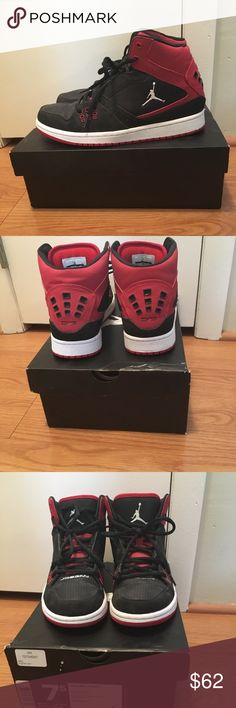 Jordan 1 Flight Like NEW! Black, red, and white Jordan 1 Flights. My son wore these for three basketball practices. Never been worn off the court. In like new condition! Size 7.5. Smoke free home!  Top-rated Seller👌🏼💯 Fast Shipper 📫 Top 10% Seller 🏆 Posh Mentor 🙋🏻♀️ Jordan Shoes