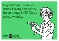 Gay marriage is legal in 6 states.  Having sex with a horse is legal in 23.  Good going, America.