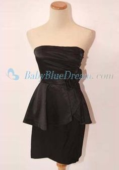 Sheath Strapless Black Satin Peplum Dress/OVE44 Affordable Sheath Strapless Black Satin Peplum Dress_discount dress onsale_babybluedream.com [OVE44] - $139.00 : Designer Wedding Dresses, Graduation Dresses and Prom Dresses at Babybluedream.com