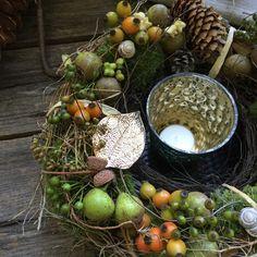 Wunderschöner Herbsttag - Tür-oder Tischkranz von FRIJDA im Garten - Aus einer Idee wurde Leidenschaft auf DaWanda.com