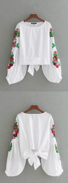 White Embroidery Puff Sleeve Bow Tie Back Top Casual Outfits, Fashion Outfits, Womens Fashion, Fashion Trends, Preppy Style, My Style, Embroidered Clothes, White Embroidery, Fashion Line
