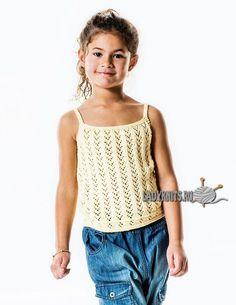 Вязаный спицами ажурный летний топ для девочки от 2 до 12 лет