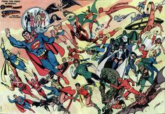 A George Perez Pinup featuring Superman's co stars from the 1st 36 issues of DC Comics Presents.