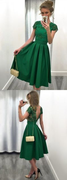 Green Prom Dresses Short, Lace Prom Dresses Casual, Backless Prom Dresses Short Sleeve, A-line Prom Dresses Scoop Neck Satin, Tulle Cocktail Party Dresses Knee-length Appliques