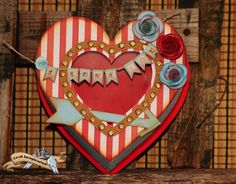 Red & white strip Valentine heart
