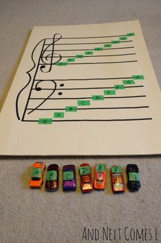 Learning Music Theory with Cars {Music Activities for Kids} Music theory game for kids: learning about grand staff using. Music Activities For Kids, Music Lessons For Kids, Music Lesson Plans, Preschool Music, Music For Kids, Kids Learning, Movement Activities, Music Theory Games, Music Games