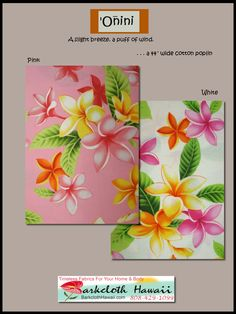 """Another tropical botanical fabric from BarkclothHawaii.com """"Onini""""  has plenty of plumeria flowers 10% off when you add Pin10 to the comment box at checkout!"""