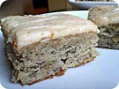 Banana Bread Bars: 1-1/2 c sugar 1 c sour cream 1/2 c soft butter 2 eggs 3-4 ripe banana mash 2 tsp vanilla 2 c flour 1 tsp baking soda 3/4 tsp salt 1/2 c chop walnuts (optional)
