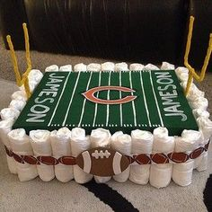 A football field 31 Diaper Cake Ideas Baby Shower Cakes, Diaper Shower, Baby Shower Diapers, Baby Cakes, Baby Shower Parties, Baby Shower Themes, Baby Boy Shower, Shower Ideas, Baby Shower Gifts For Boys