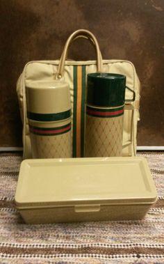 Vintage Aladdin Thermos Picnic Set  Green by MidCenturyMagicFinds, $10.75 Vintage Picnic Basket, Picnic Baskets, Old Kitchen, Kitchen Stuff, Picnic Essentials, Picnic Set, Coolers, Flask
