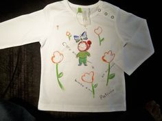 Pollicino, t-shirt per bimbo dipinta e ricamata a mano