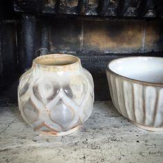 Carved vase and bowl, shino glazed. #ceramics #pottery #keramik