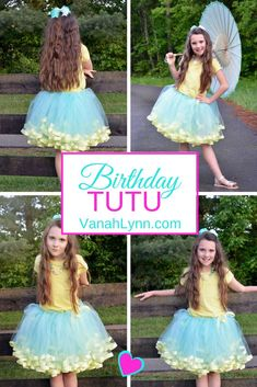 Let your little one be a #Princess on their special day. Your #BirthdayGirl will have fun twirling and dancing in their #PartyWear. This tutu is made with high quality tulle and satin ribbon. Comes in newborn to size 12 (custom sizes and styles available upon request). Find this #Tutu today and many others at vanahlynn.com | Vanah Lynn Designs | Kids Birthday Party Ideas | Birthday Outfit Ideas For Girls | #VanahLynn #PartyPlanning #PartyOutfit #BeachTheme