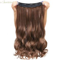 SNOILITE Lady Synthetic Curly Long Clip in Hair Extentions Half Full Head One Piece Hairpiece Black Brown Blonde