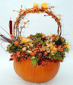"""Pumpkin on Parade"" - Real pumpkin with dried and silk berries, pods, nuts and leaves (Norfolk Florist) Autumn Decorating, Pumpkin Decorating, Fall Decor, Holiday Decor, Pumpkin Flower, Pumpkin Wreath, Burlap Pumpkins, Fall Pumpkins, Thanksgiving Diy"