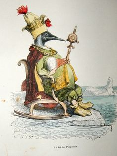 grandville-des-animaux-1842-hand-col-print.-royal-penguin-bird-[2]-53992-p.jpg 788×1,050 pixels