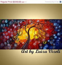 NEW YEAR SALE Original Oil Painting Whimsical Tree by LUIZAVIZOLI, $296.65