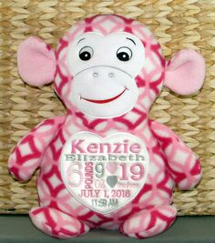 Personalized baby gift monogrammed baby by worldclassembroidery baby girl gift personalized new baby gift embroidered pink print monkey zoo animals wildlife baby girl made in usa negle Gallery