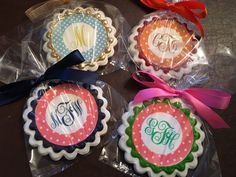 Monday Monograms! - See more of our cookies at http://www.ctcookietreats.com