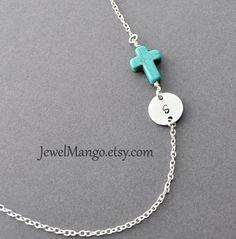 Turquoise cross initial necklace, Turquoise necklace, monogram, unique Jewelry, cross jewelry. sideway cross, horizontal cross.  Etsy.