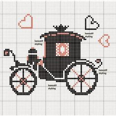 Coach pattern / chart for cros Diy Embroidery, Cross Stitch Embroidery, Embroidery Patterns, Cross Stitch Patterns, Cross Stitch Boards, Cross Stitch Heart, Wedding Cross Stitch, Cross Stitching, Beading Patterns