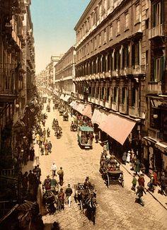 Via Roma, Naples (Napoli), Italy, c. Italia Vintage, Vintage Italy, Old Pictures, Old Photos, Vintage Photographs, Vintage Photos, Vintage Prints, Naples Italy, Italy Italy