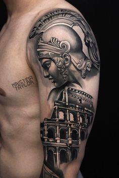 Tattoo Kristina Teylor - tattoo's photo In the style Realistic, Black and grey, Male, Warriors, Differe Stomach Tattoos, Leg Tattoos, Tattoos For Guys, Sleeve Tattoos, Warrior Tattoos, Viking Tattoos, Zues Tattoo, Tattoo Roma, Gladiator Tattoo