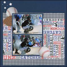 Baseball Catcher layout by Carolyn Lontin