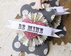 VALENTINE Heart Glitter Sign Ornament Hanging by HoggBarnAntiques