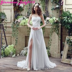 Graceful A-Line Side Slit Sweetheart Off Shoulder Wedding Dress For Women Special Occasion Bride Gown Chiffon In Stock