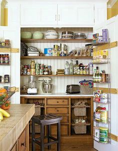 kitchen pantry combining storage and a work station