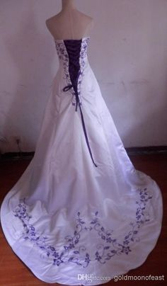 Wholesale A-Line Wedding Dresses - Buy Sexy Strapless White Satin With Purple Embroidery A-line Court Train Bride Wedding Dress Lace Up Back Size 0-14 And Plus Size, $174.5 | DHgate