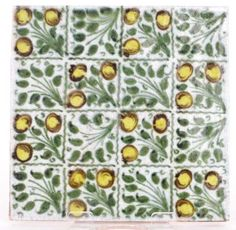 William de Morgan - A square tile decorated with a chequered pattern of berries and leaves #tile #ukauctioneers