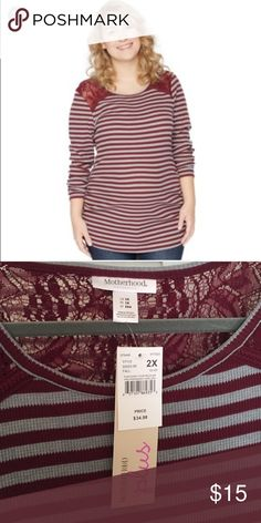 Plus size maternity shirt Super cute burgundy and gray long sleeve  striped maternity shirt. Motherhood Maternity Tops Tees - Long Sleeve