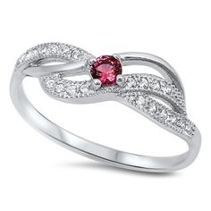 Sterling Silver Cute Swirl Design Ruby / Cz Ring Sz 4-10 105204123456