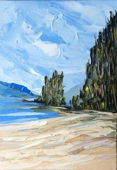 """VANCOUVER ISLAND BEACH"" Original Oil Landscape by US Artist KEVIN CROSS."