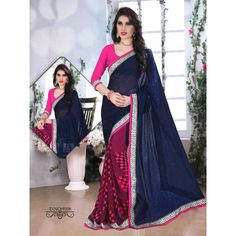 Buy Sareeline Blue Faux Chiffon Saree by Mor Mukut Fashion, on Paytm, Price: Rs.2001